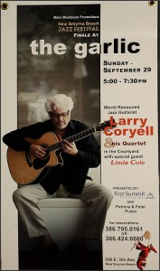 "Larry Coryell poster board w/ gruments  20"" x 36""  $ 50"